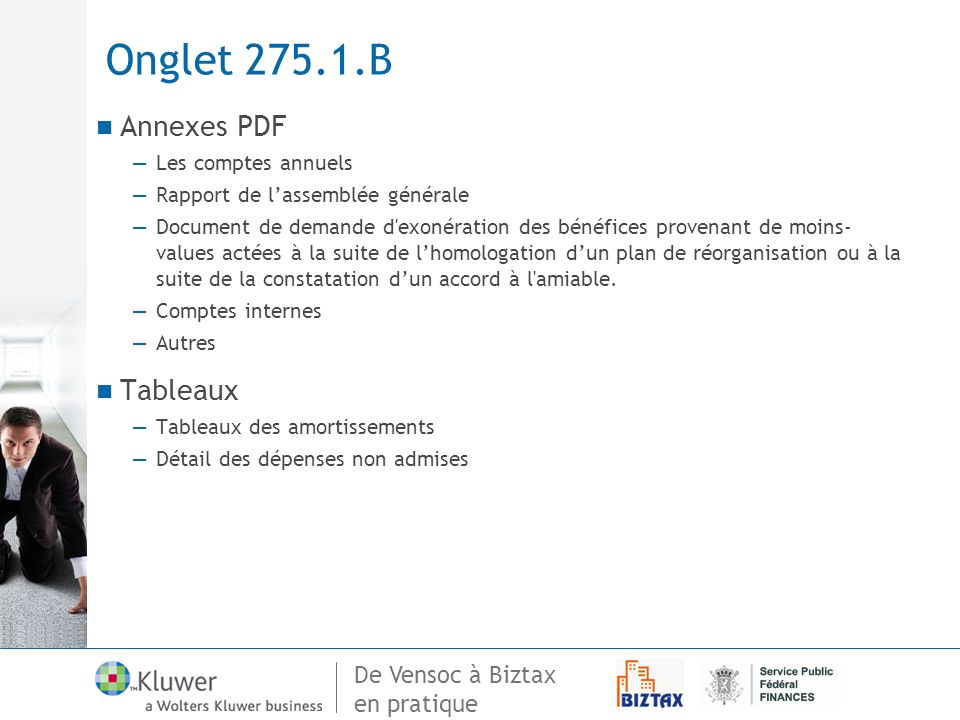 Onglet 275.1.B Annexes PDF Tableaux Les comptes annuels