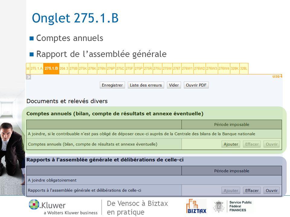 Onglet 275.1.B Comptes annuels Rapport de l'assemblée générale