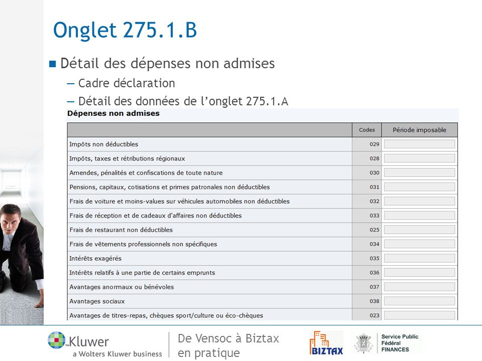 Onglet 275.1.B Détail des dépenses non admises Cadre déclaration