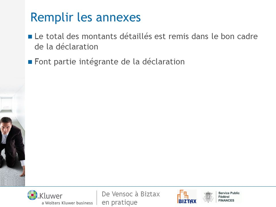 Remplir les annexes Le total des montants détaillés est remis dans le bon cadre de la déclaration.