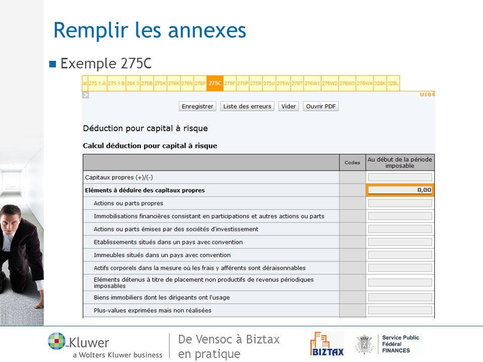 Remplir les annexes Exemple 275C