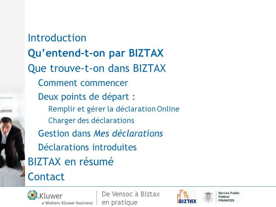 Qu'entend-t-on par BIZTAX Que trouve-t-on dans BIZTAX