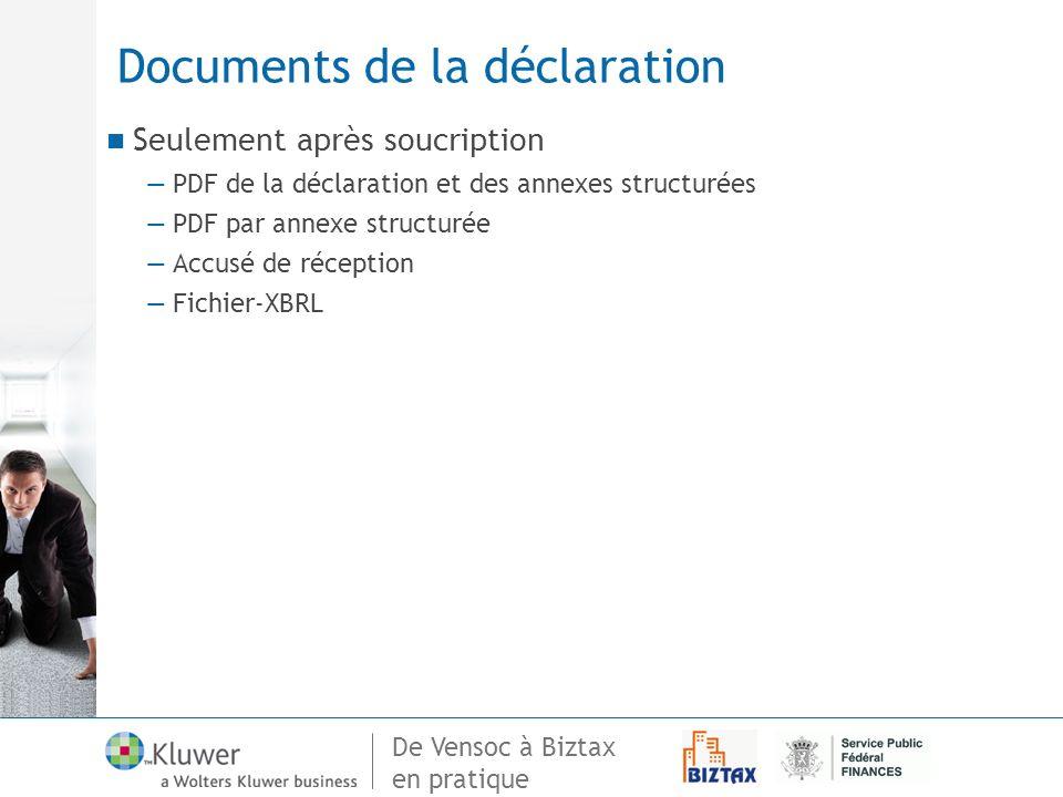 Documents de la déclaration