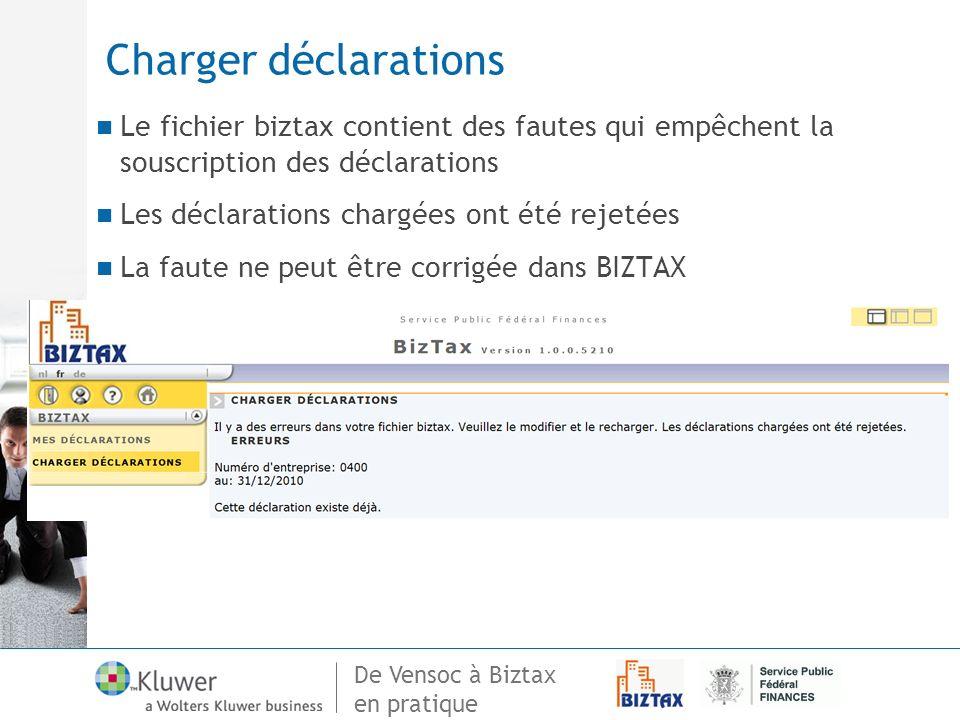 Charger déclarations Le fichier biztax contient des fautes qui empêchent la souscription des déclarations.