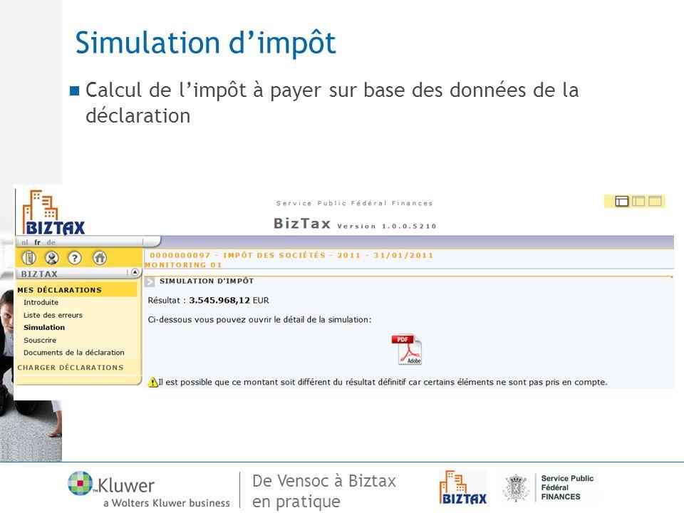Simulation d'impôt Detail