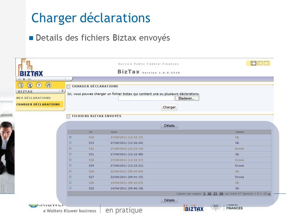 Charger déclarations Details des fichiers Biztax envoyés 98