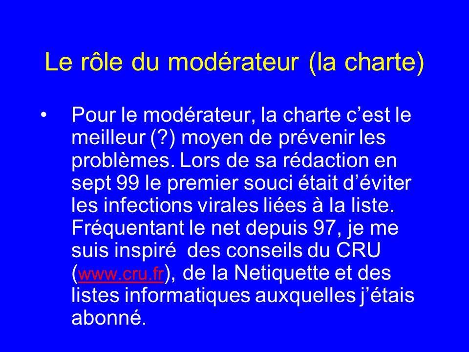 Le rôle du modérateur (la charte)