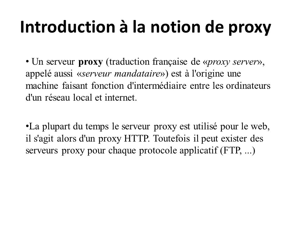 Introduction à la notion de proxy