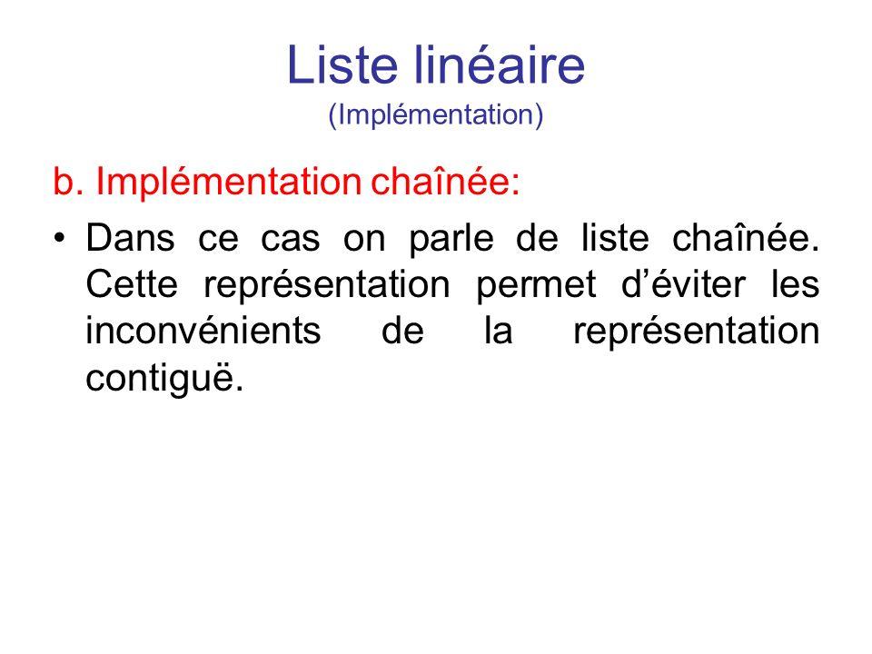 Liste linéaire (Implémentation)