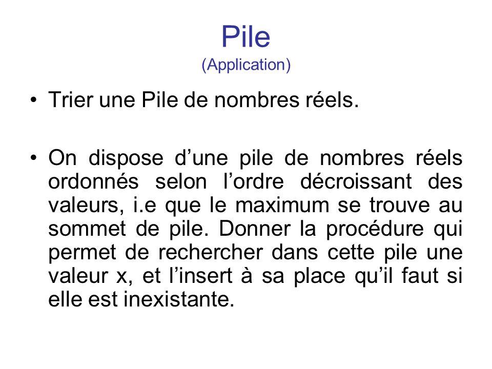 Pile (Application) Trier une Pile de nombres réels.
