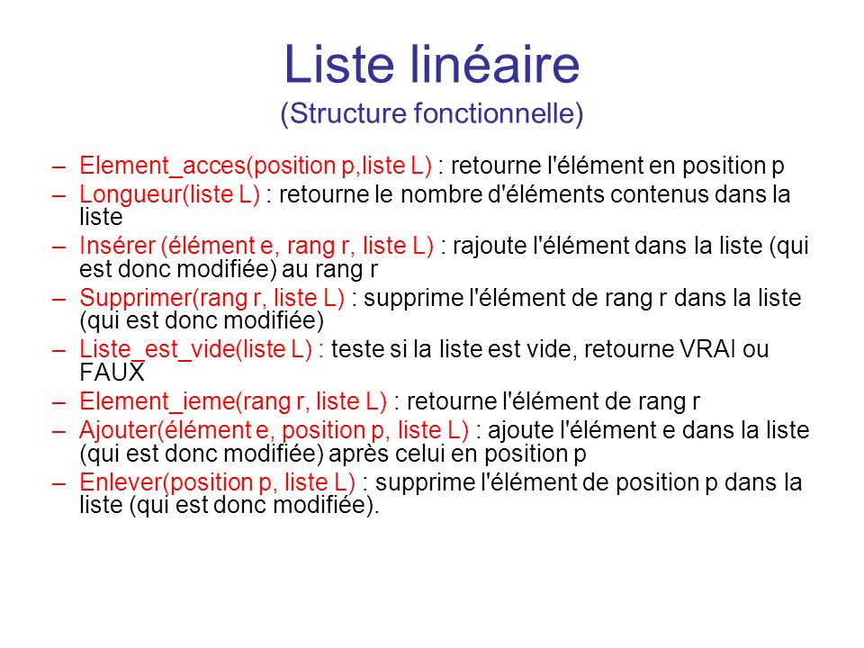 Liste linéaire (Structure fonctionnelle)