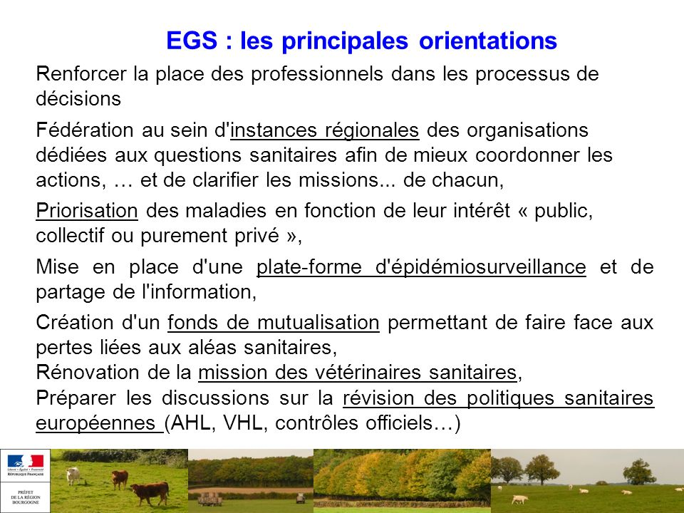 EGS : les principales orientations
