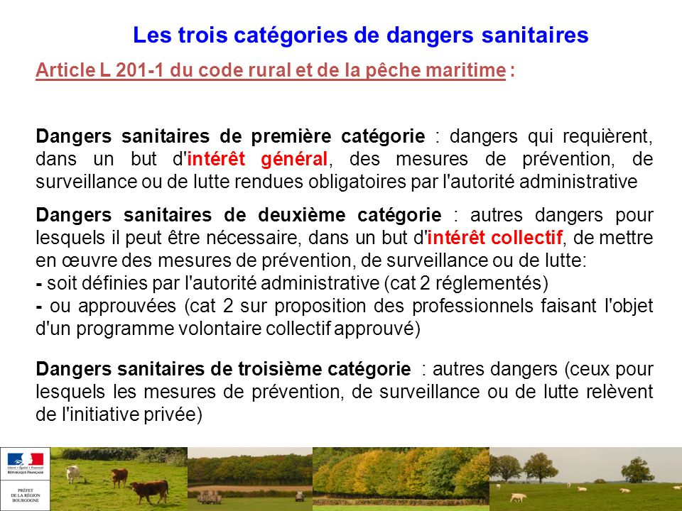 Les trois catégories de dangers sanitaires