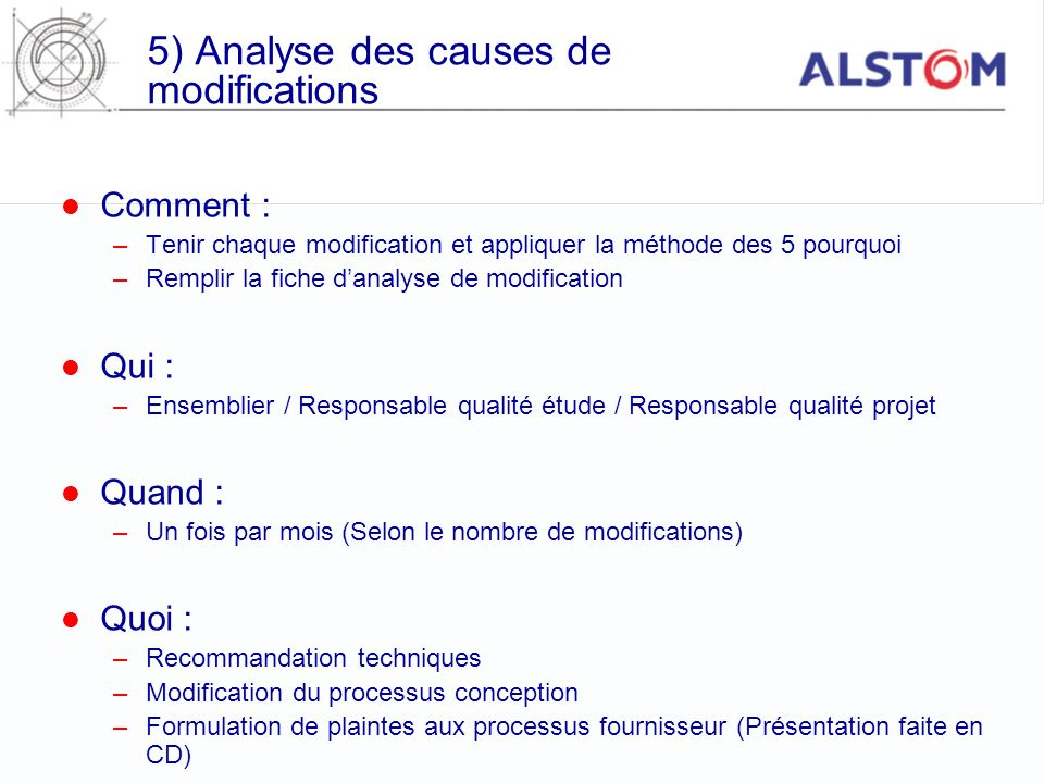 5) Analyse des causes de modifications