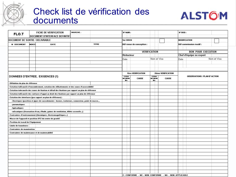 Check list de vérification des documents