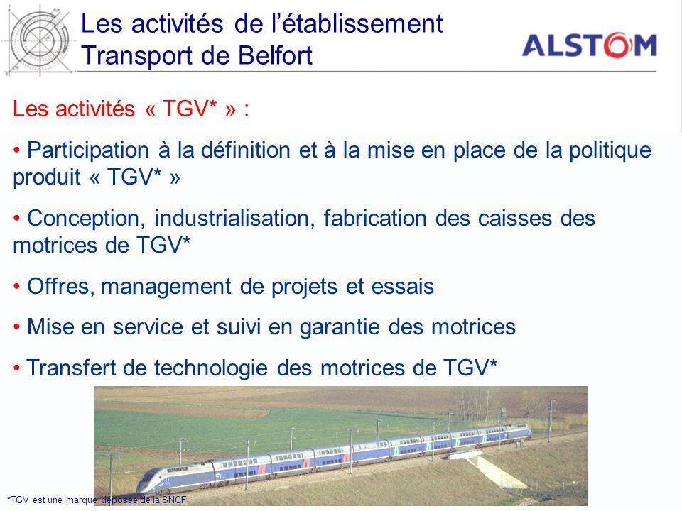 Les activités de l'établissement Transport de Belfort