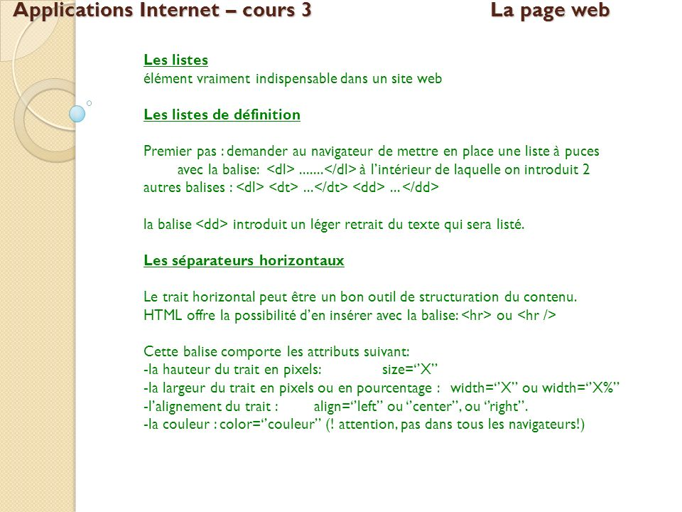 Applications Internet – cours 3 La page web