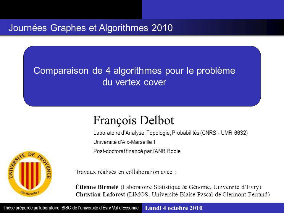 Comparaison de 4 algorithmes pour le problème du vertex cover