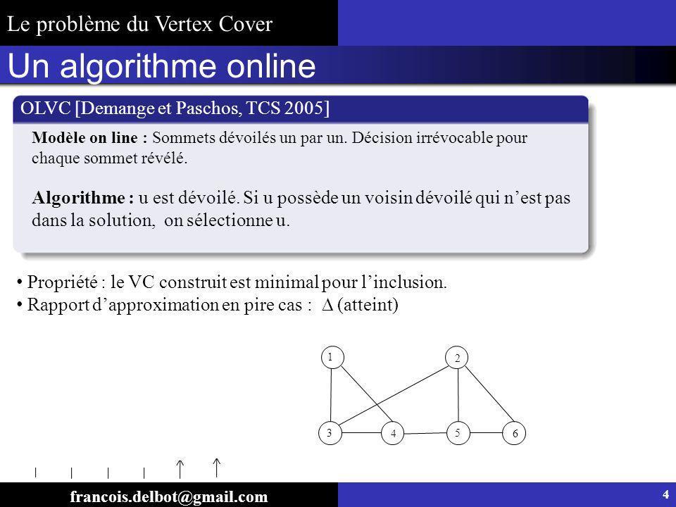 Un algorithme online Le problème du Vertex Cover 4 5 3 1 2 6