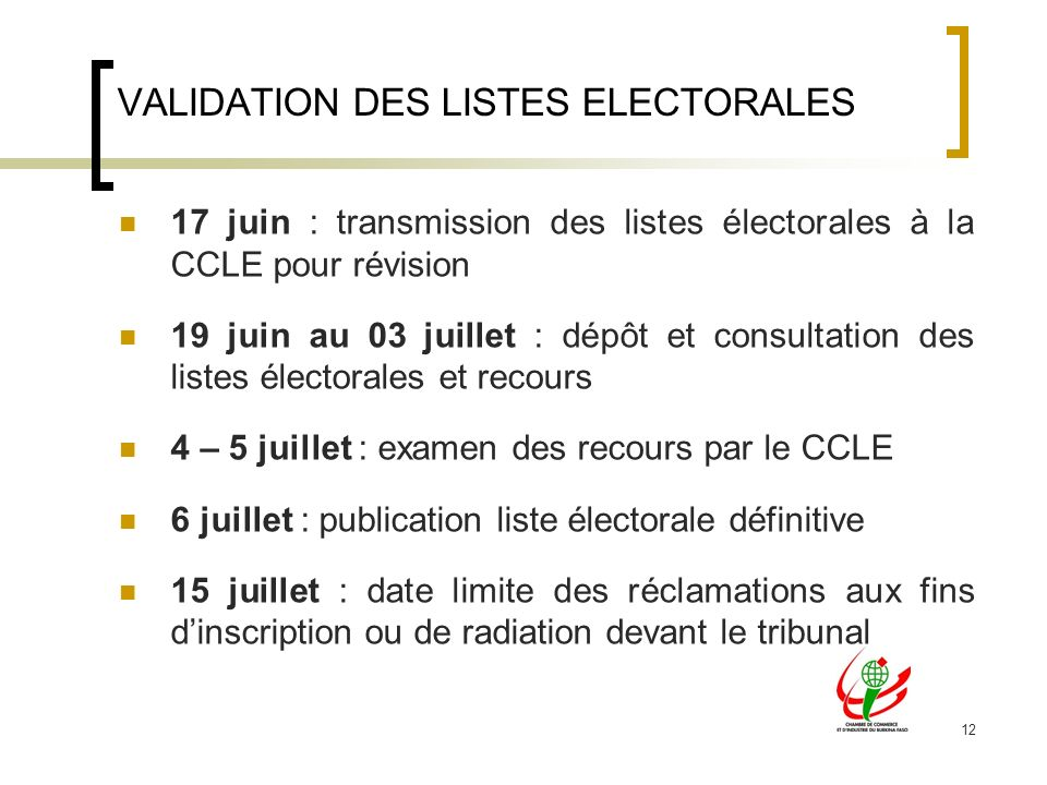 VALIDATION DES LISTES ELECTORALES