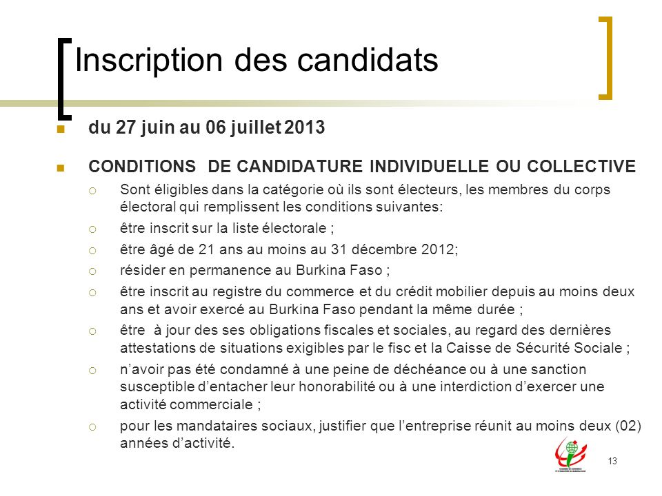 Inscription des candidats