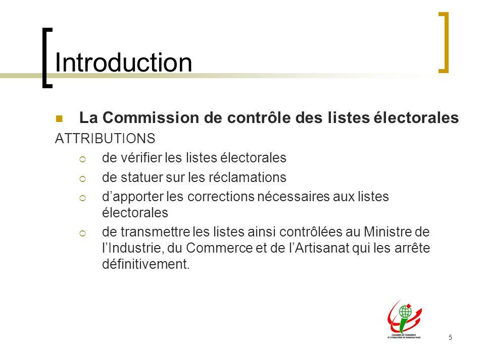 Introduction La Commission de contrôle des listes électorales
