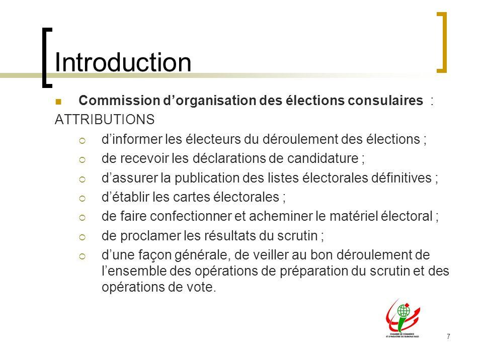 Introduction Commission d'organisation des élections consulaires :