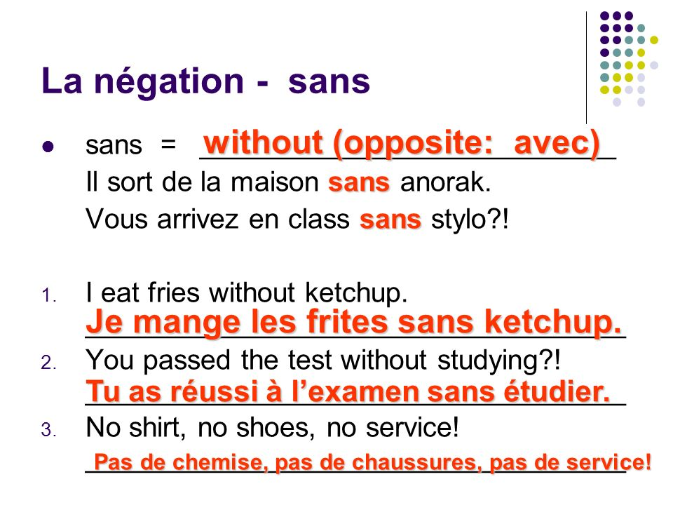 La négation - sans without (opposite: avec)