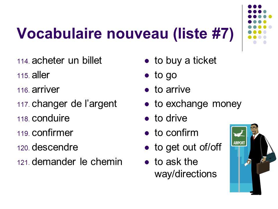 Vocabulaire nouveau (liste #7)