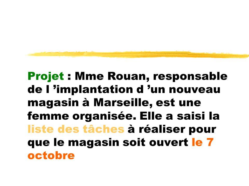 Projet : Mme Rouan, responsable de l 'implantation d 'un nouveau magasin à Marseille, est une femme organisée.