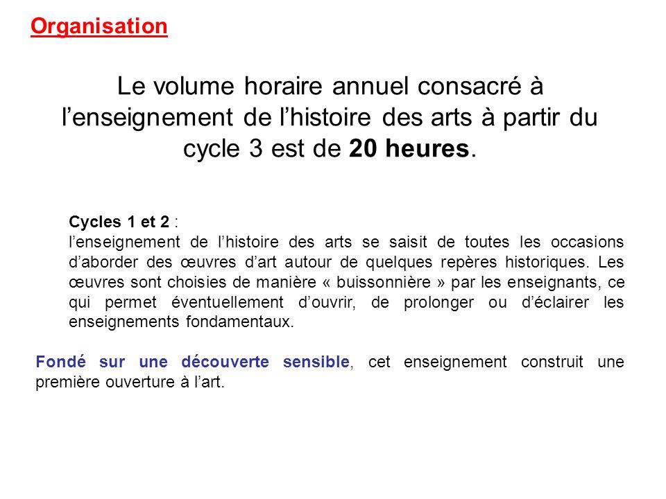 Organisation Le volume horaire annuel consacré à l'enseignement de l'histoire des arts à partir du cycle 3 est de 20 heures.