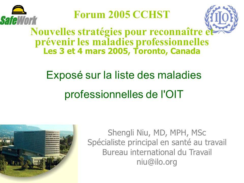 Exposé sur la liste des maladies professionnelles de l OIT