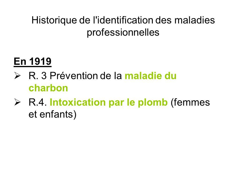 Historique de l identification des maladies professionnelles