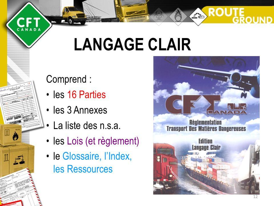 LANGAGE CLAIR Comprend : les 16 Parties les 3 Annexes