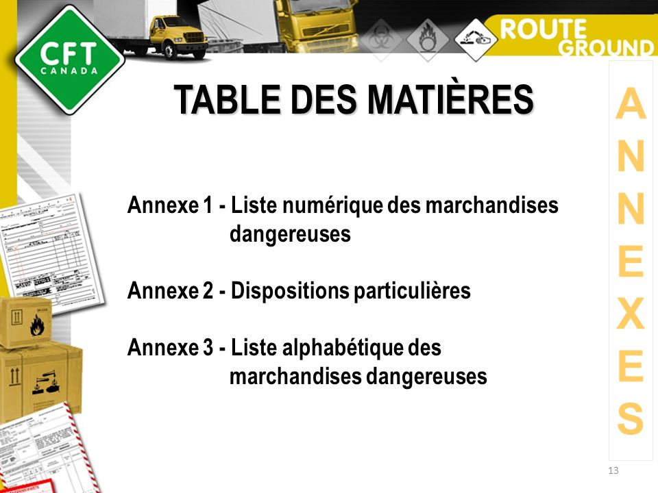 A N E X S TABLE DES MATIÈRES