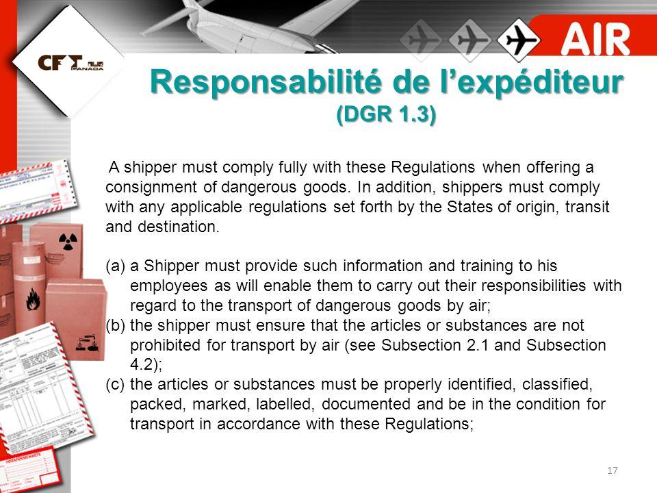 Responsabilité de l'expéditeur (DGR 1.3)