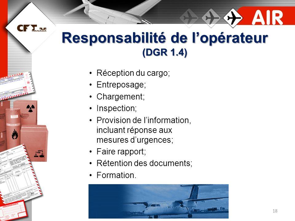 Responsabilité de l'opérateur (DGR 1.4)