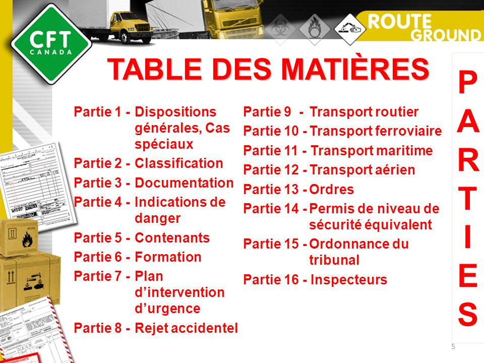 P A R T I E S TABLE DES MATIÈRES