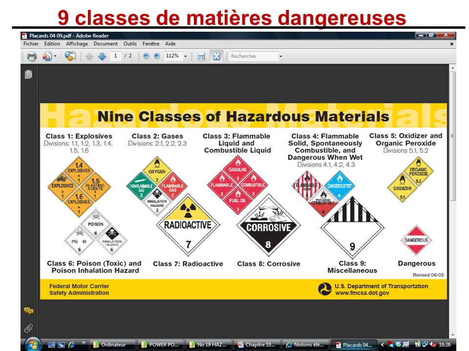 9 classes de matières dangereuses