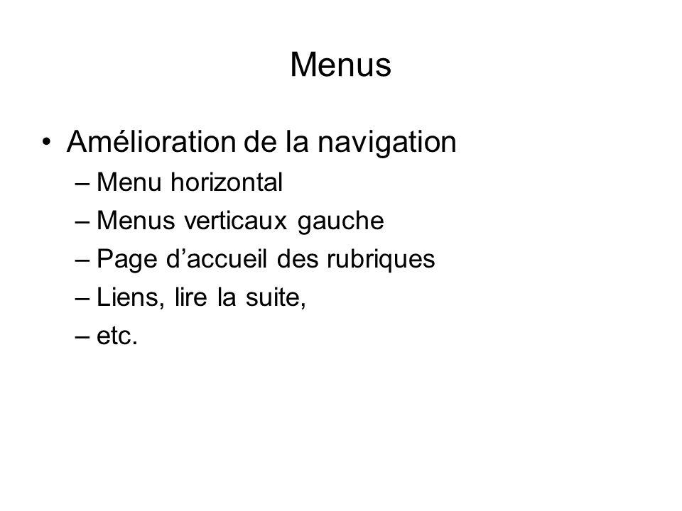 Menus Amélioration de la navigation Menu horizontal