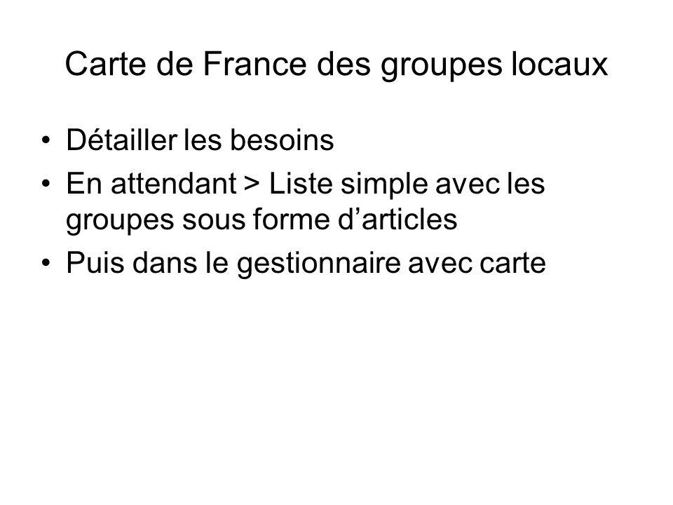 Carte de France des groupes locaux