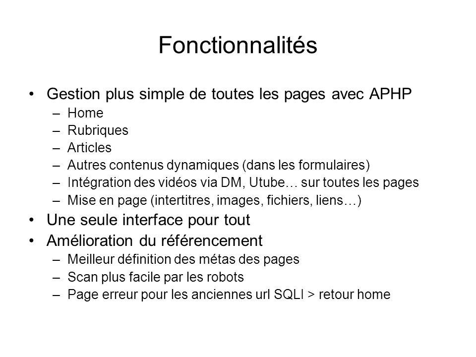 Fonctionnalités Gestion plus simple de toutes les pages avec APHP