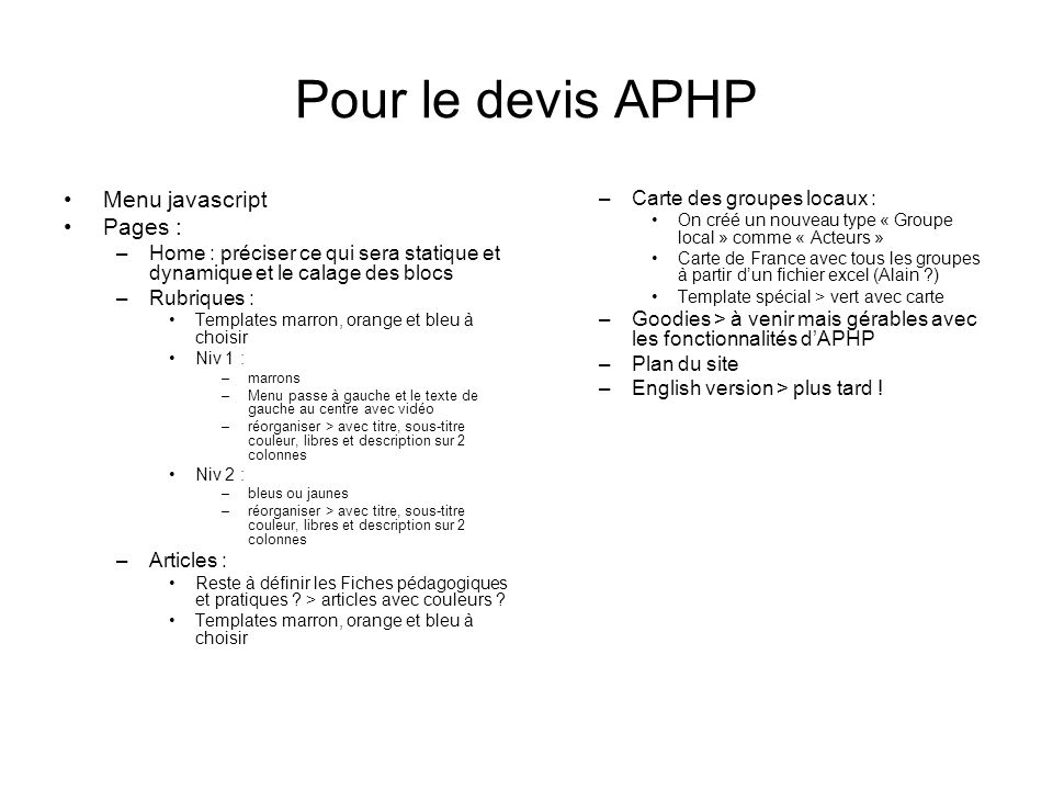 Pour le devis APHP Menu javascript Pages : Carte des groupes locaux :