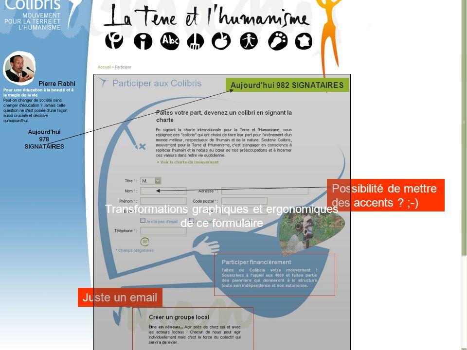 Transformations graphiques et ergonomiques de ce formulaire