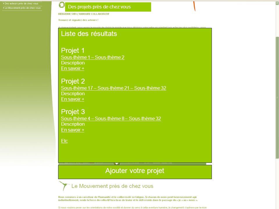 Liste des résultats Projet 1 Projet 2 Projet 3 Ajouter votre projet