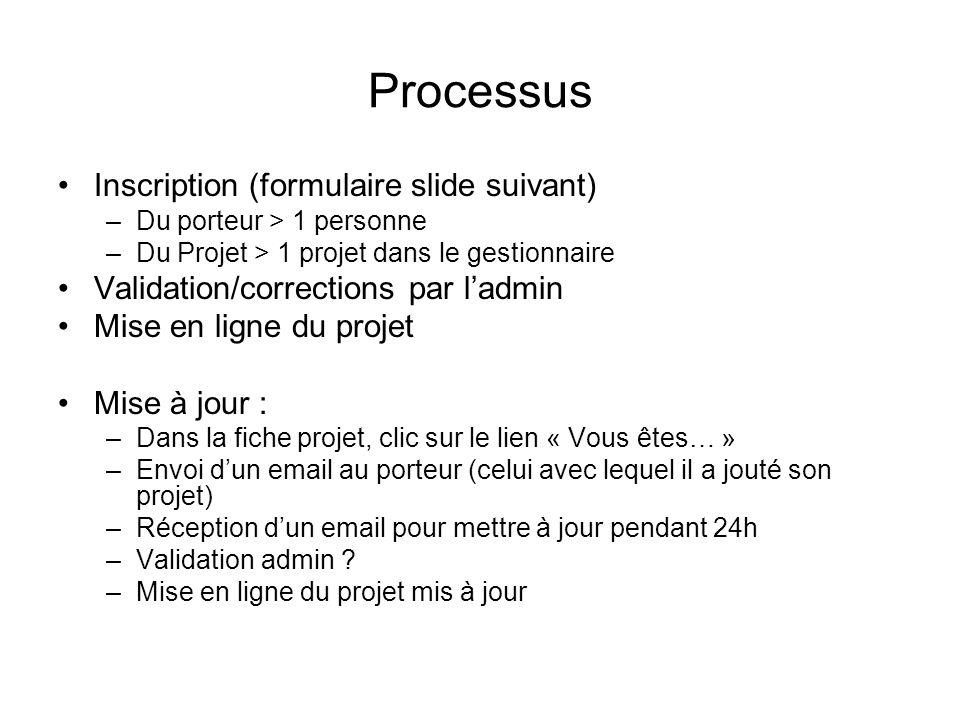 Processus Inscription (formulaire slide suivant)