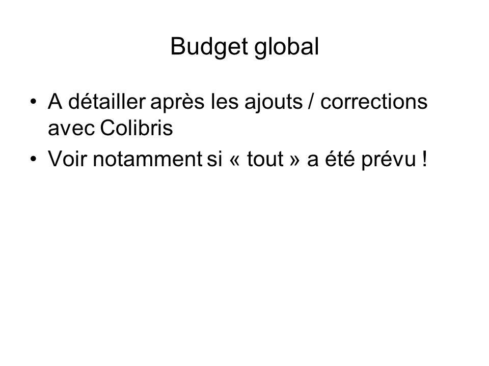 Budget global A détailler après les ajouts / corrections avec Colibris