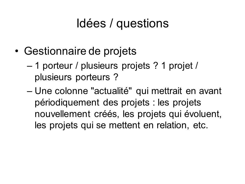 Idées / questions Gestionnaire de projets