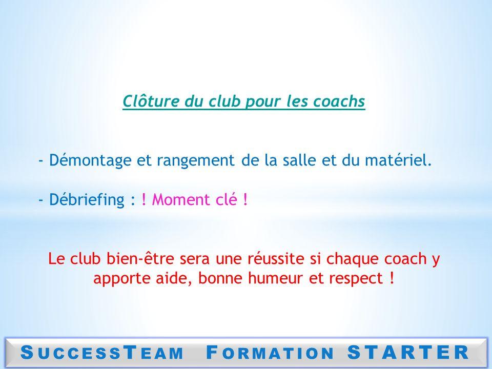 Clôture du club pour les coachs SuccessTeam Formation STARTER