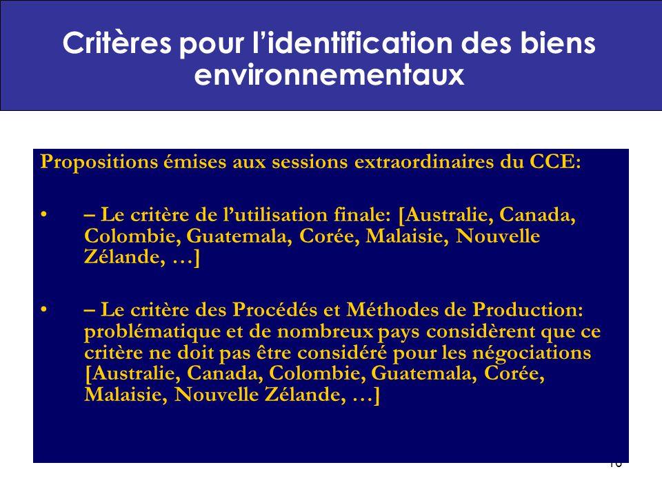 Critères pour l'identification des biens environnementaux